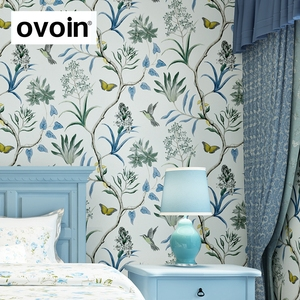 Image 2 - chinoiserie wallpaper Bedroom Wall Covering modern Vintage Pink Floral Wallpaper Blue Tropical Butterfly Birds Flower Wall Paper