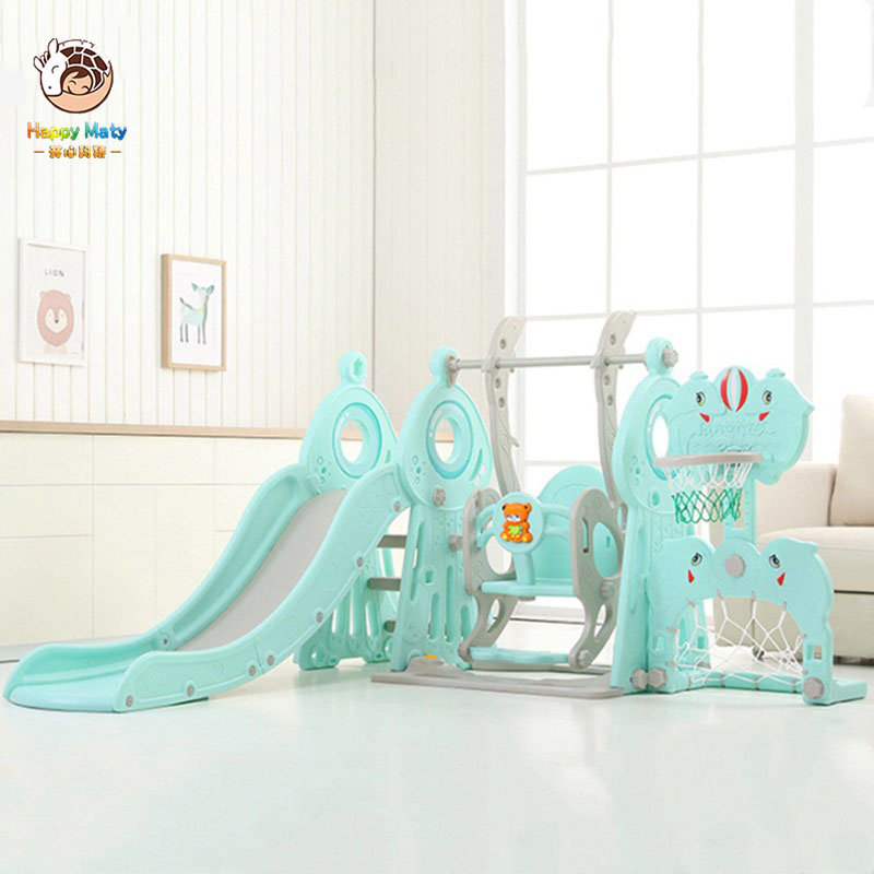 Baby Swing Chair 5 In 1 Indoor Slide Swing Combination Basketball Stand Home Small Playground Kid Slide Toy Set