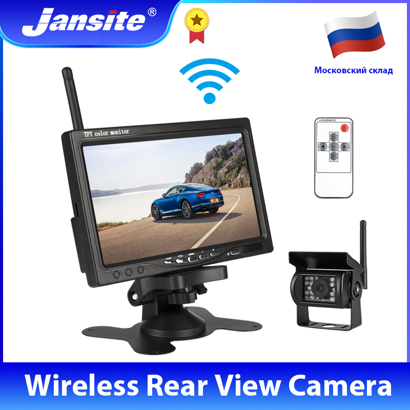 Jansite 7 אינץ אלחוטי רכב צג TFT LCD רכב אחורי להציג מצלמה HD צג למשאית מצלמה עבור אוטובוס RV ואן הפוך מצלמה Wired