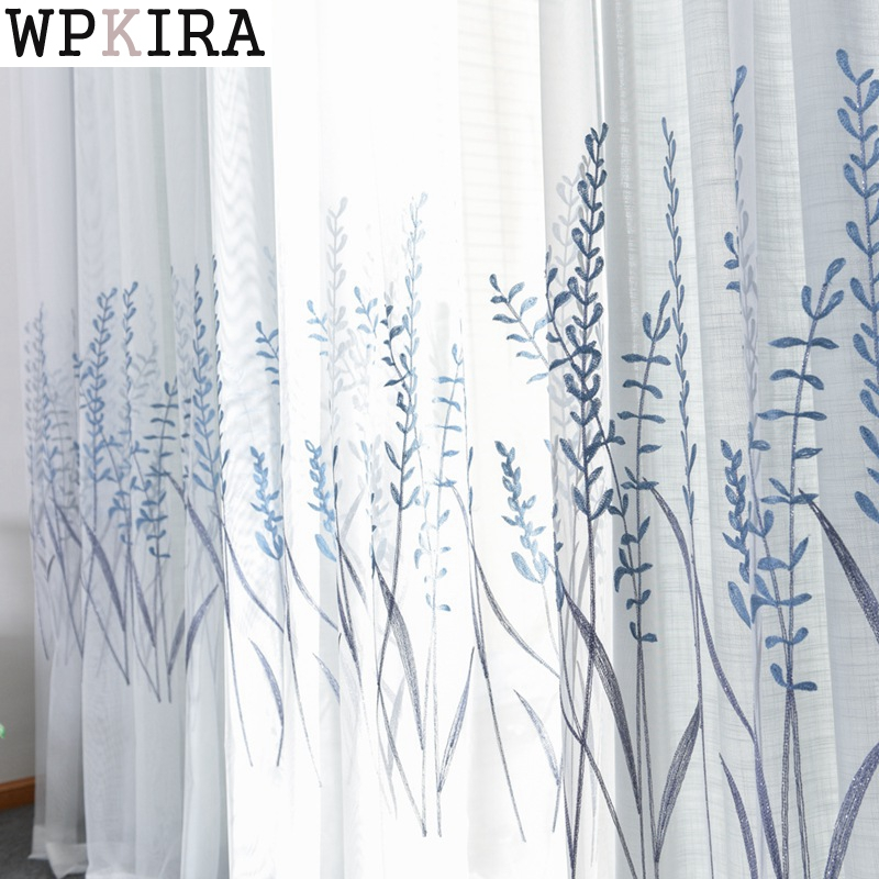 Grey White Curtains For Living Room Embroidered Luxurious Curtain For Kitchen Bedroom Simple Tulle Sheer For Window 005&30