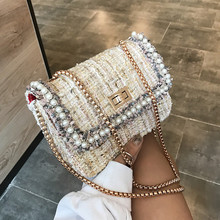 Luxury Design Woolen Pearls Chain Women Crossbody Bags 2021 Fashon Ladies Shoulder Messenger Bag Clutches Female Purses