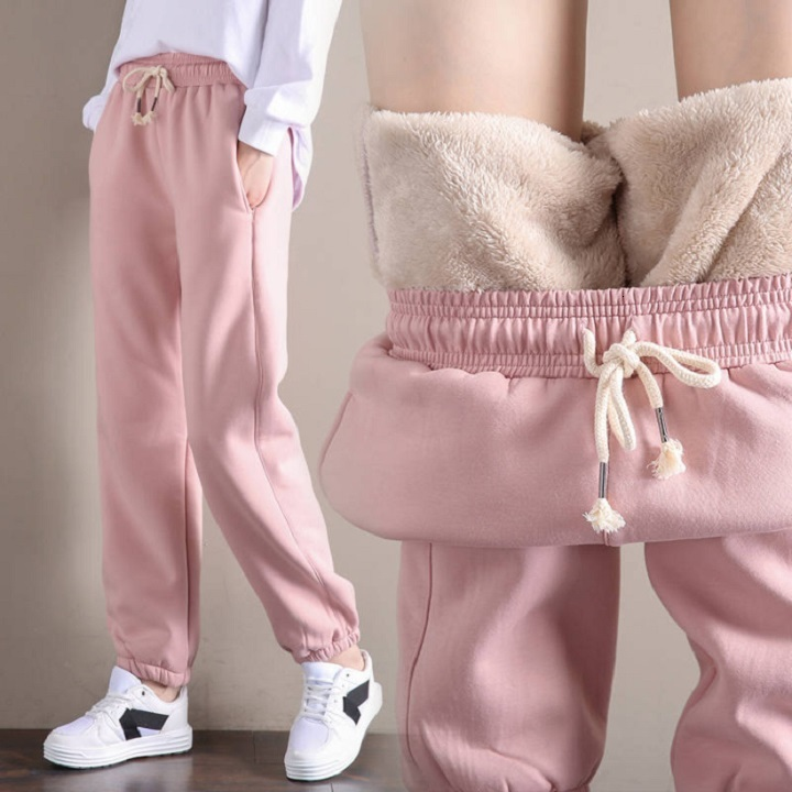 Autumn And Winter Plush And Thickened Lamb Trousers Korean Version Of Female Students Loose Harlan Pants Sports And Leisure Pant