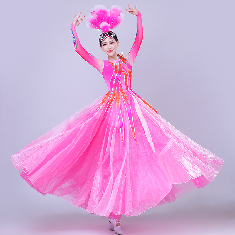 Brand Hot Sale Opening Dance Big Swing Skirt Costumes Women New Large Stage Modern Dance Song Costume Ladies Jazz Dance image