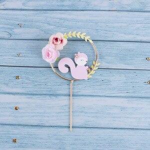 Image 5 - Decoración de Pastel con tema de animales de bosque hermoso, corona de flores de ardilla de zorro, para pastel guirnalda, Topper para fiesta de Cumpleaños de Niños, suministros