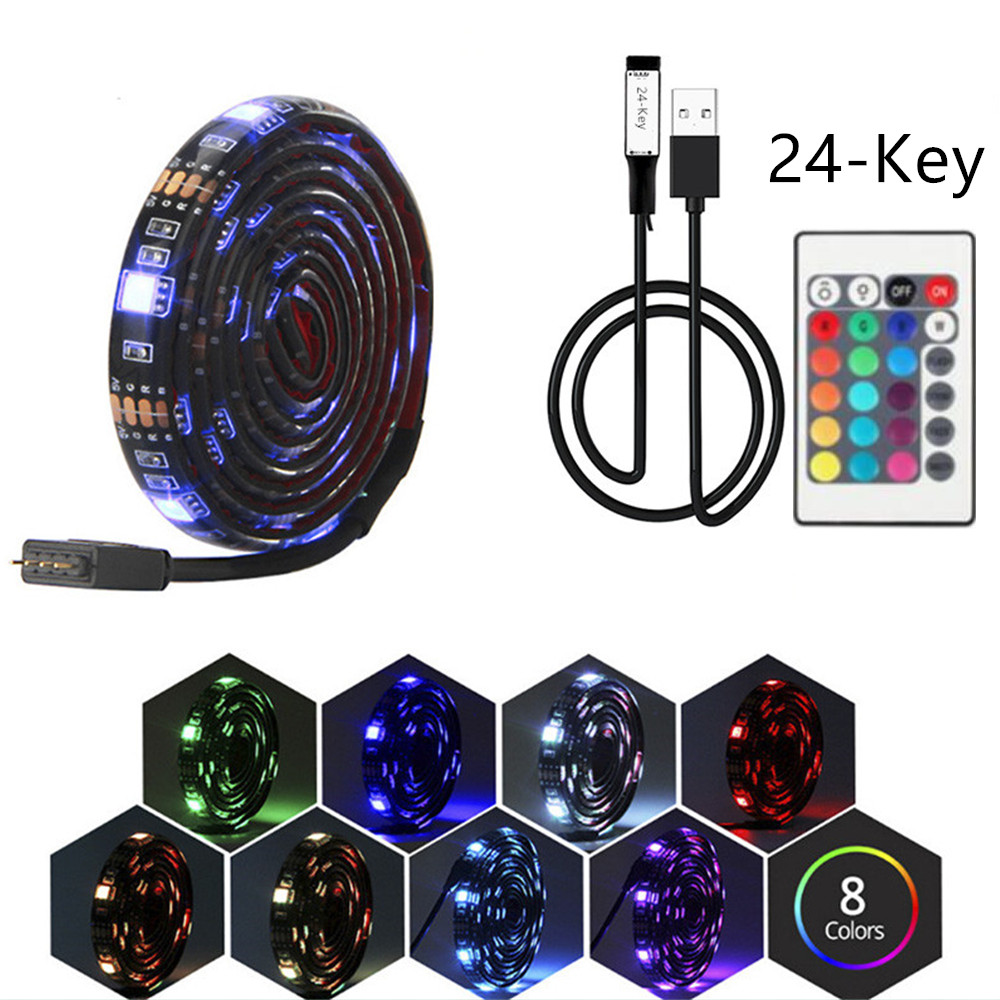 USB RGB <font><b>LED</b></font> Strip lamp DC <font><b>5V</b></font> <font><b>5050</b></font> RGB Book light Bulb TV Background Decor Lighting Ribbon desk decor tape Strings 1M 2M 3M 4M 5M image