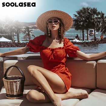 Soolasea Women Romper Solid Puff Sleeve Jumpsuit Summer Short Pleated Overalls Jumpsuit Female Chest Wrapped Strapless Playsuit
