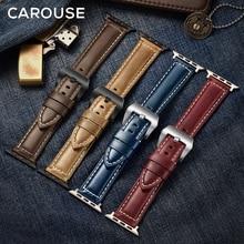 Carouse 오일 왁스 가죽 핸드 메이드 애플 시계 밴드 시리즈 SE/6/5/4/3/2/1 38mm 42mm 스트랩 iWatch 44mm 40mm 시계 밴드