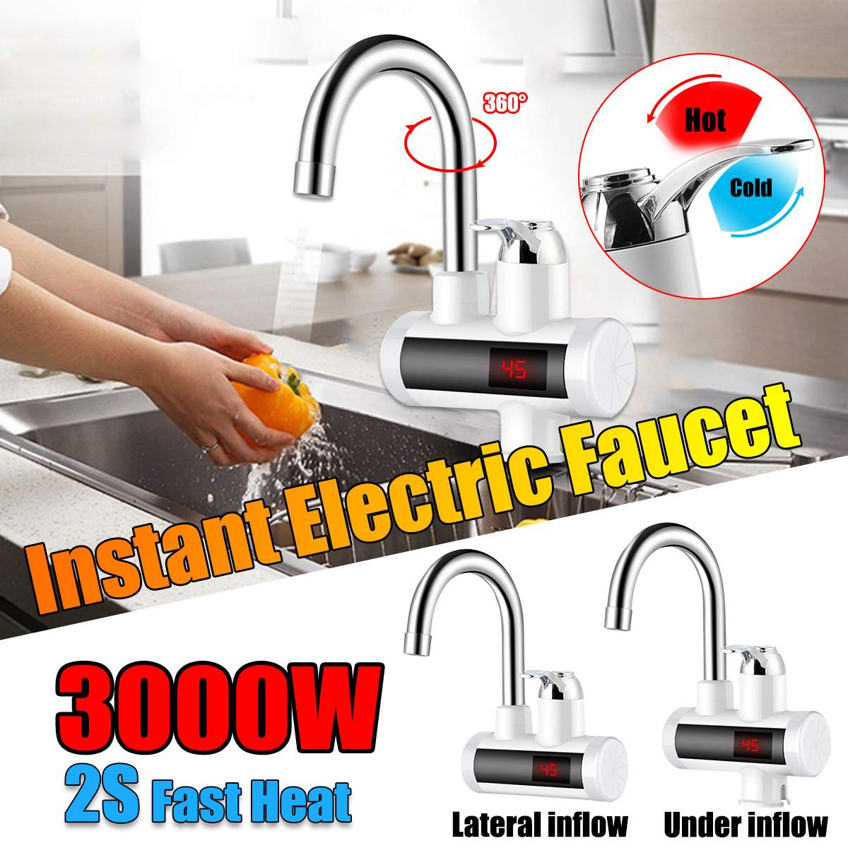 2 Types HD-001 3000W Digital Display Instant Hot Water Tap,Fast Electric Heating Water Tap,Inetant Electric Heating Water Faucet