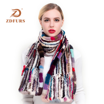 ZDFURS * Women Mink Fur Scarf Hand Knitted Fashion Muffler Luxury Real Neck Warmer Stole