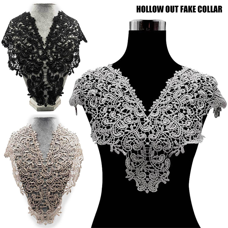 Elegant Lace Embroidered Fake Collar Hollow Front Back Collar V Style Neck GDD99