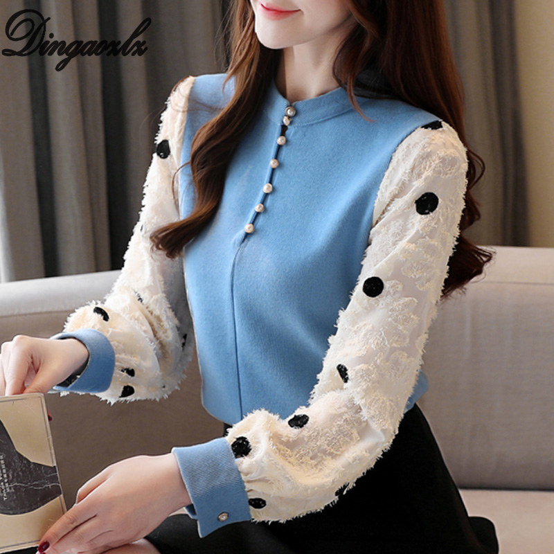 Dingaozlz Women Sweater Long Sleeve Knitted Pullovers Tops Patchwork Flower Dot Printed Chiffon Shirt