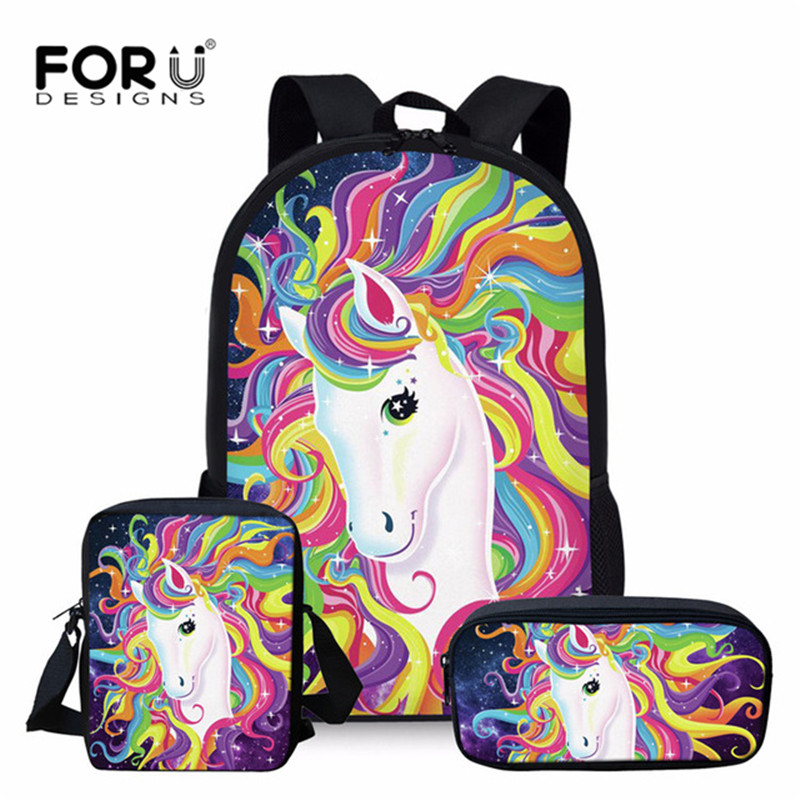 FORUDESIGNS Cartoon Horse School Backpack Set For Teenage Girls Boys Student Kids Orthopedics Bagpack Children Satchel Enfant