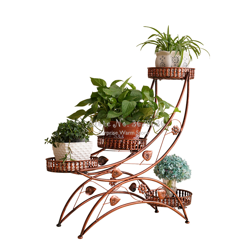 European-style Wrought Iron Flower Stand Flower Rack Metal Balcony Plant Stand Succulent Shelf Rack Bonsai Stand Free Shipping