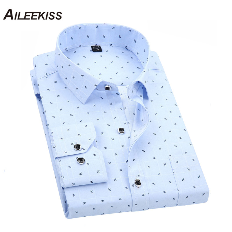 2019 Shirt Brand New Arrival Spring Male Printed Casual Chemise Homme Dress Shirts Long Sleeves Slim Fit 4XL Mens Clothing XT609