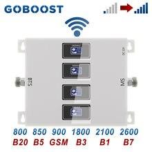 Goboost ganho 70db amplificador celular 2g 3g 4g gsm 900 850 lte tdd 800 1800 2600 umts 2100 mhz impulsionador de sinal quatro repetidor banda