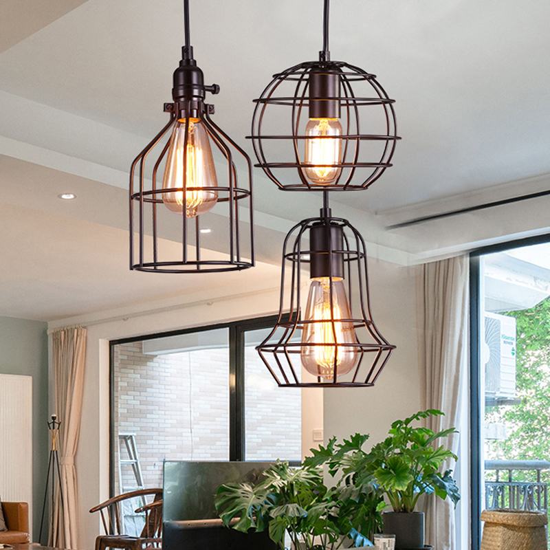 LED Indoor E27 modern cage pendant light iron retro loft pendant lamp metal Guard Hanging restaurant Lamp living room decoration
