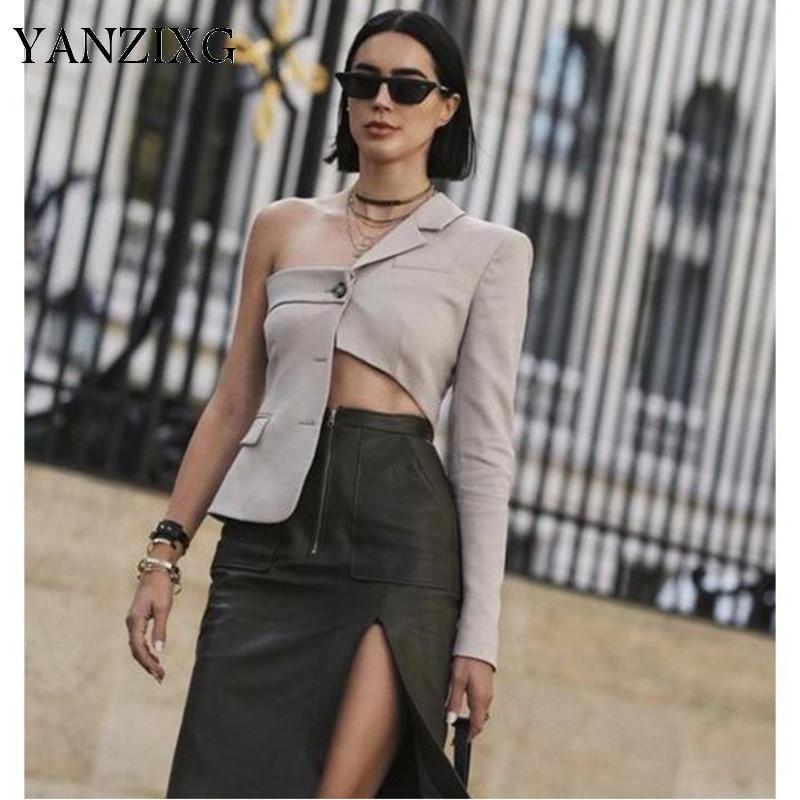 Womens Blazer Irregular Ladies Blazer Jacket Hollow Out Asymmetric Womens Jackets Chic Short Suit Coat Women Tops 2019 R489