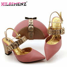 African 2019 Special Design Ladies Matching Shoe and Bag Material with Pu Italian Shoes and Bags Set for Party Women Shoes Pink