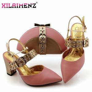 Image 4 - Kraliyet Mavi Yeni Tasarım İtalyan Zarif Ayakkabı Ve Çanta Seti İtalyan Rahat Topuklu parti ayakkabıları Ve çanta seti Düğün Için