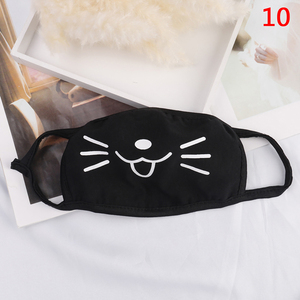 Image 5 - 1 Pcs Cotton Masks Keep Warm Cartoon Funny patten Face Mouth Mask Unisex banquet party Mouth Muffle Respirator black 12 Style