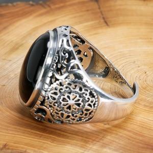 Image 4 - Naprawdę twarde 925 Sterling Silver czarny pierścień mężczyźni Vintage wydrążone kwiaty pierścienie otwarty naturalny onyks kamień duży owalny kształt biżuteria męska