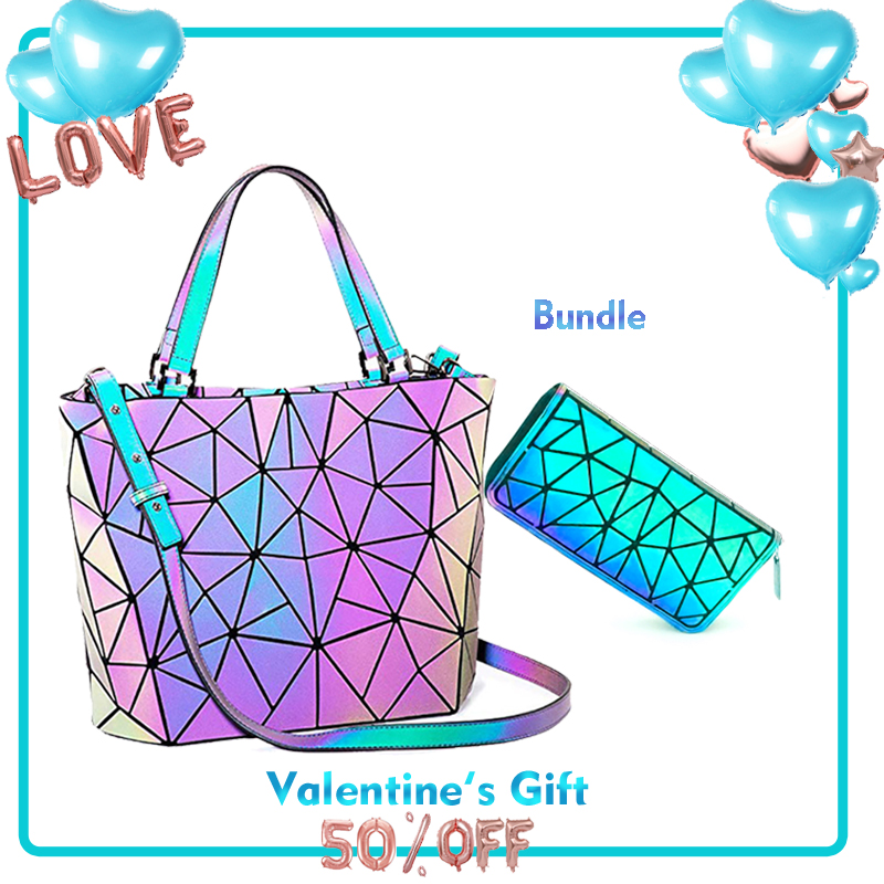 Women's Shoulder Bags Fashion Luminous Top-Handle Hologram Geometric Female Wallets And Purse Luxury Designer Sets