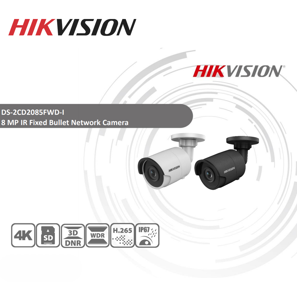 Image 2 - Hikvision Original DS 2CD2085FWD I 8MP IR Fixed Bullet IP Camera POE CCTV Network dome security camera IP67 IR30 3D DNR-in Surveillance Cameras from Security & Protection
