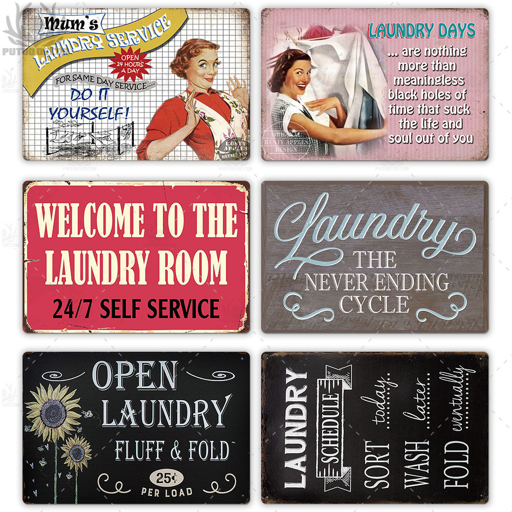 Laundry SERVICE Unique Metal Hanging Vintage Tin Signs Shop Wall Decor