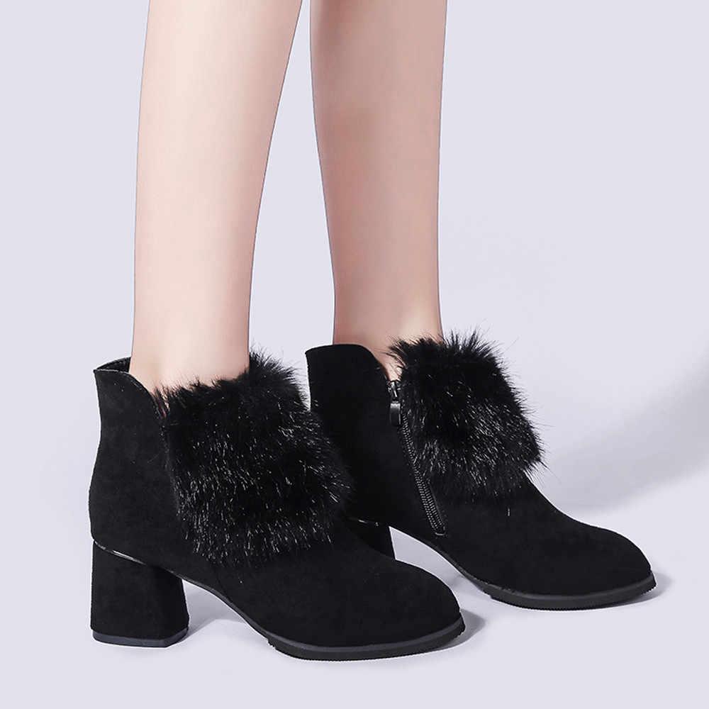 ฤดูหนาวรองเท้าผู้หญิงงานแต่งงานรองเท้ารองเท้ารอบ Toe Suede รองเท้าส้นสูงฤดูหนาวสั้นรองเท้าบูทข้อเท้า Bootie กับ Fur bottes a40