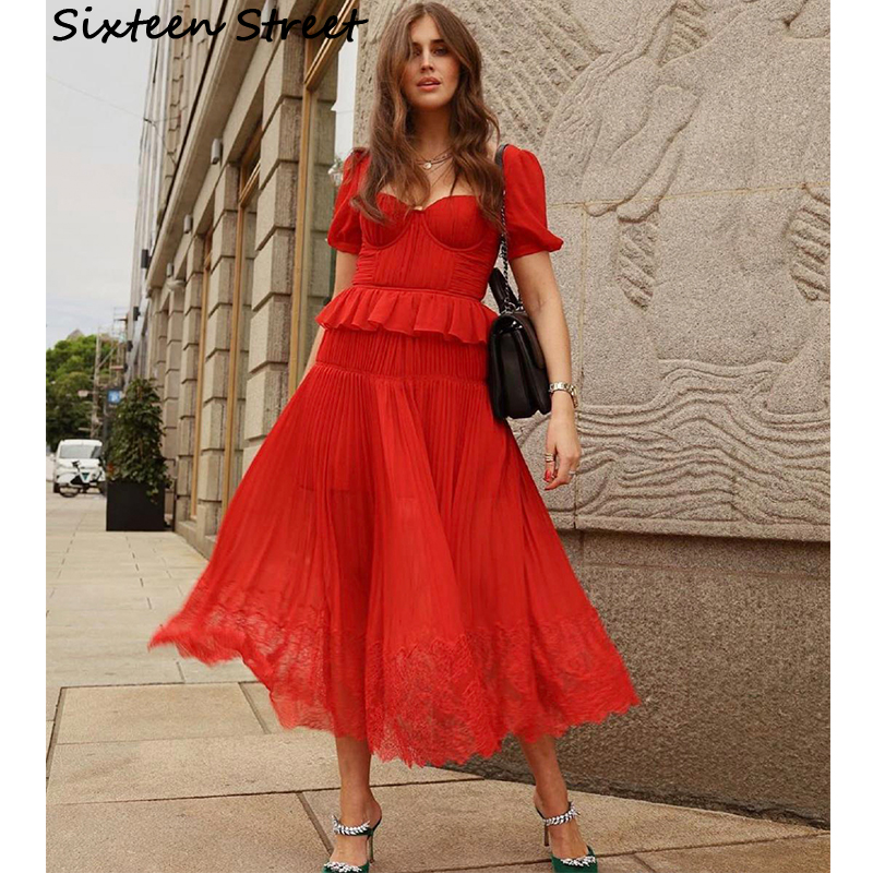 2020 New Summer Red Chiffon Pleated Dress Woman Square Collar Solid Runway Design Casual Holiday Vacation Maxi Dress Woman
