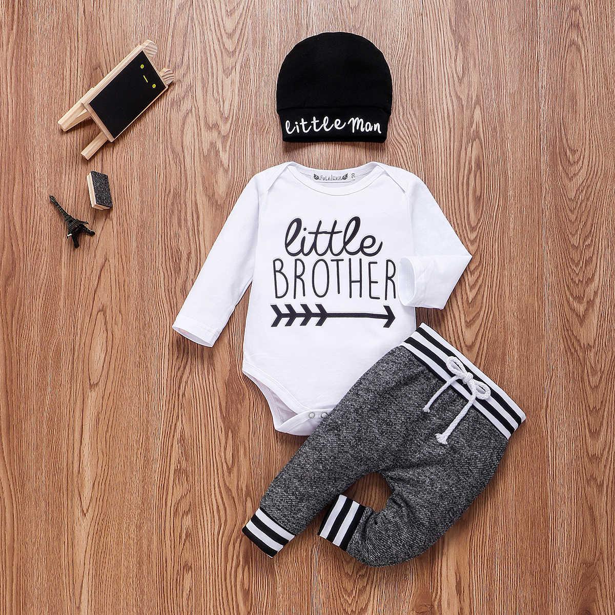 Bayi Baru Lahir Bayi Laki-laki Pakaian Set 3 Pcs Adik Lengan Panjang Baju Monyet Celana Topi Pakaian Pakaian