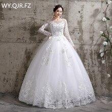 XXN-112 # vestido de noiva vestido de noiva laço manga cheia bandagem bordado renda no vestido de baile net rendas até o pescoço barato por atacado menina china