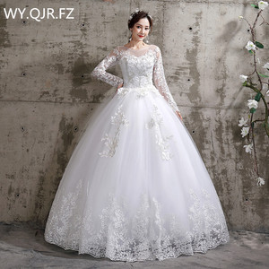 XXN-112#Bride Wedding dress Lace Full sleeve Bandage Embroidered Lace on Net Ball Gown lace up O-Neck cheap wholesale girl China