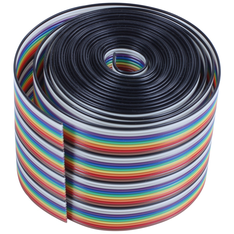 ABKT-10ft 40 Way 40-Pin Rainbow Color IDC Flat Ribbon Cable 1.27mm Pitch
