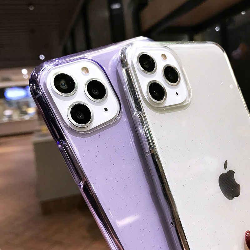 Ottwnキラキラキラキラ透明ソフトtpuシリコンケースiphone 7 8 6sプラス 11 pro x xr xs最大se 2020 クリアバックカバー電話ケース