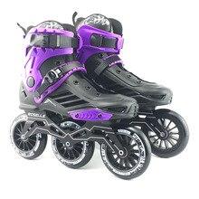 Adulti professionale Scarpe Pattinaggio Roller 3*110 millimetri Variabile Velocità Patines Trasporto Da Corsa Pattini per SEBA Slalom Powerslide Utente f040