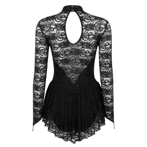 Image 2 - TiaoBug Adult Mock Neck Long Sleeve Soft Lace Ballet Gymnastics Leotard Women Figure Ice Skating Dress Competition Dance Costume