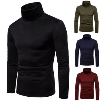 Autumn Winter Men's Sweaters Turtleneck Long Sleeve Plain Sweaters Stretch Casual  Kintted Pullovers Basic Tops