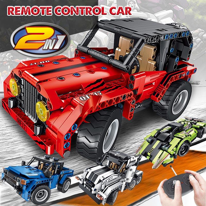 2.4Ghz RC Car Building Blocks Legoing Technic Dual Mode Wrangler Racing Car Remote Control Vehicle Bricks Toys For Kids Boys