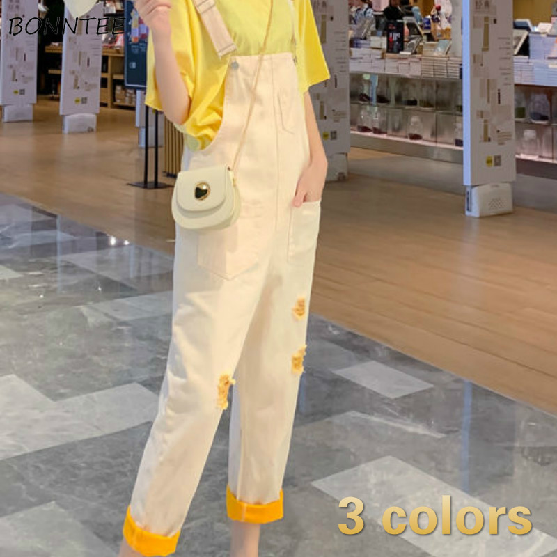 <font><b>Jumpsuits</b></font> Women Loose Solid Pockets Hole Ankle-length Denim Korean Style Casual All-match Trendy <font><b>Kawaii</b></font> Lovely Womens Daily Soft image