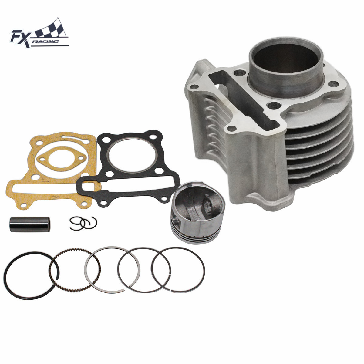 GY6 125cc 150cc 4 Stroke <font><b>52mm</b></font> 57mm Big Bore Cylinder Kit <font><b>Piston</b></font> <font><b>Ring</b></font> For Chinese Scooter ATV Moped 139QMB 139QMA Engine image