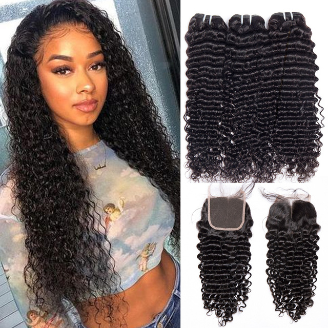 Malaysian Deep Wave Curly Bundles With Closure Human Hair Extensions Malaysian Curly Human Hair 3 Bundles With Closure