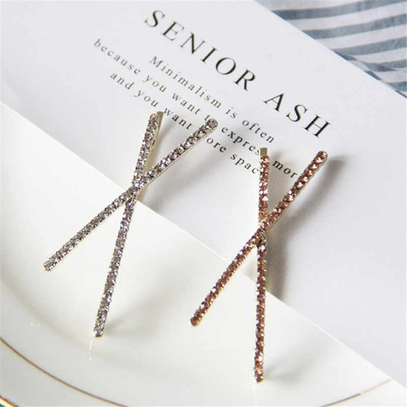 1PC Fashion Geometric Triangle X Shape Shiny Crystal Rhinestones Hairpins Women Hair Clips Barrettes Hair Styling Accessories