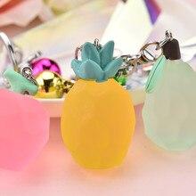 Fashion Creative Pineapple Apple Key chain Acrylic Cut Face  Fruit Women Handbag Pendant Chains Childrens schoolbag