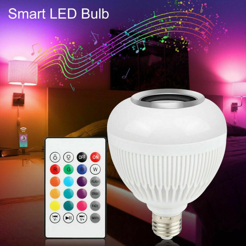 E27 Bluetooth Speaker Light Smart LED Bulb RGB Lamp 12W Music Playing Dimmable Wireless Led Lamp With 24 Keys Remote Control