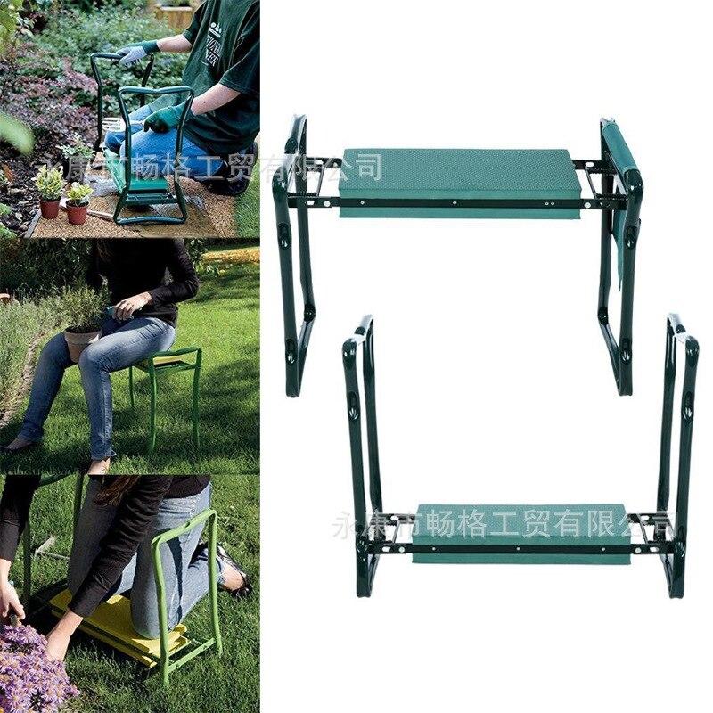 Barato rodillera de jardín plegable y asiento multifuncional asiento de acero inoxidable taburete de jardín rodamiento 150KG rápido llega en pocos días