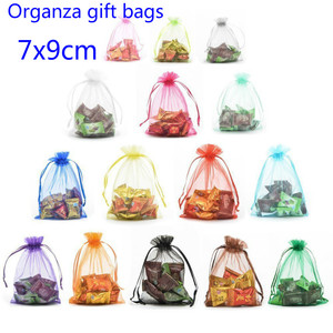 10pcs 7x9cm Organza Gift Bag Jewelry Packaging Candy Christmas Halloween Wedding Party Goodie Packing Favors Cake Sweets Bags