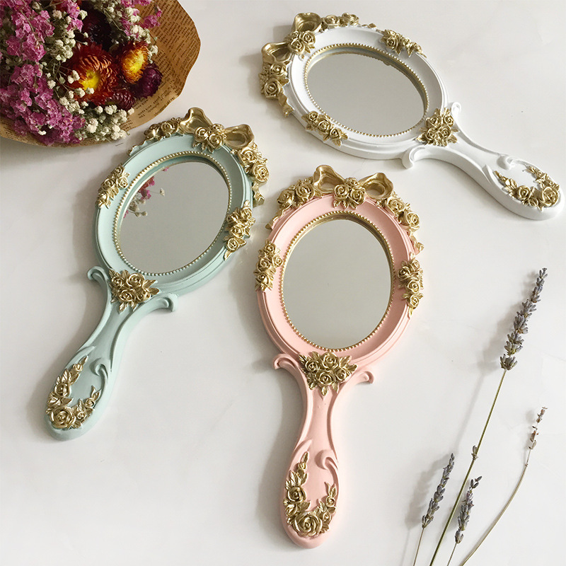 1Pc European Rectangle Hand Hold Cosmetic Mirror With Handle Makeup Mirror Wooden Vintage Hand Mirrors Makeup Vanity Mirror