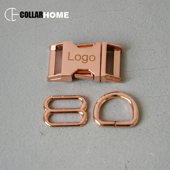 20 sets engrave logo ID metal buckle 25mm D rings for DIY dog collar neck harness sewing accessories hardware adjuster sliders