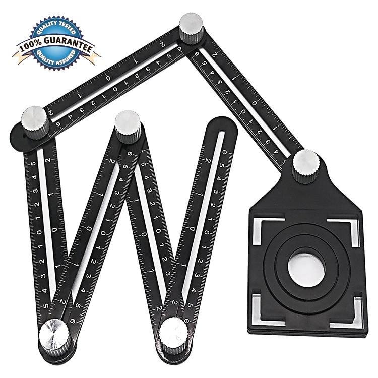 Adjustable Six-fold Tool Ruler Drill Guide Ceramic Tile Hole Opening Locator Set Universal Opening Locator Aluminum Alloy